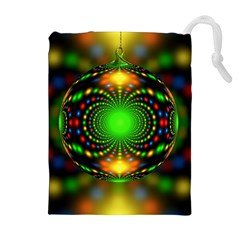 Christmas Ornament Fractal Drawstring Pouches (extra Large)