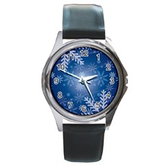 Snowflakes Background Blue Snowy Round Metal Watch