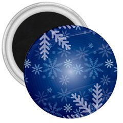 Snowflakes Background Blue Snowy 3  Magnets