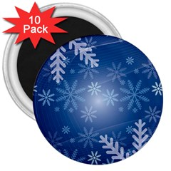 Snowflakes Background Blue Snowy 3  Magnets (10 Pack)