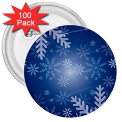 Snowflakes Background Blue Snowy 3  Buttons (100 Pack)