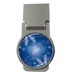 Snowflakes Background Blue Snowy Money Clips (round)