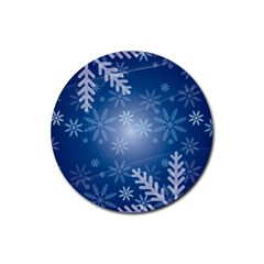 Snowflakes Background Blue Snowy Rubber Round Coaster (4 Pack)