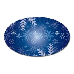 Snowflakes Background Blue Snowy Oval Magnet