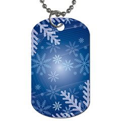 Snowflakes Background Blue Snowy Dog Tag (one Side)