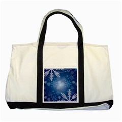 Snowflakes Background Blue Snowy Two Tone Tote Bag