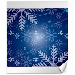 Snowflakes Background Blue Snowy Canvas 8  X 10