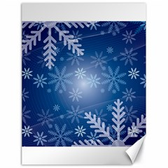 Snowflakes Background Blue Snowy Canvas 18  X 24