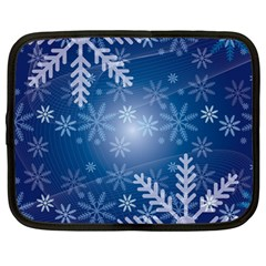 Snowflakes Background Blue Snowy Netbook Case (large)