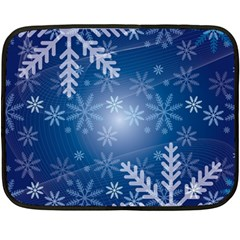 Snowflakes Background Blue Snowy Fleece Blanket (mini)