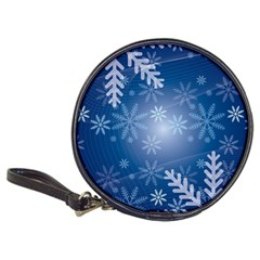Snowflakes Background Blue Snowy Classic 20 Cd Wallets
