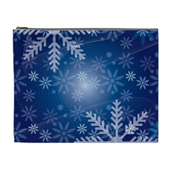 Snowflakes Background Blue Snowy Cosmetic Bag (xl)