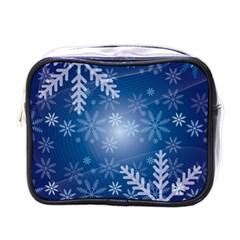 Snowflakes Background Blue Snowy Mini Toiletries Bags