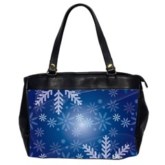 Snowflakes Background Blue Snowy Office Handbags (2 Sides)