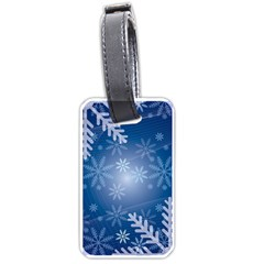 Snowflakes Background Blue Snowy Luggage Tags (one Side)