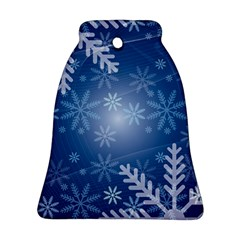 Snowflakes Background Blue Snowy Bell Ornament (two Sides)