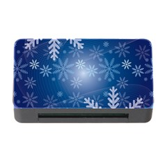 Snowflakes Background Blue Snowy Memory Card Reader With Cf