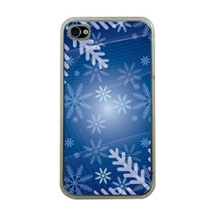 Snowflakes Background Blue Snowy Apple Iphone 4 Case (clear)