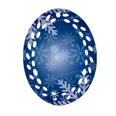 Snowflakes Background Blue Snowy Oval Filigree Ornament (two Sides)