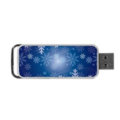 Snowflakes Background Blue Snowy Portable Usb Flash (two Sides)
