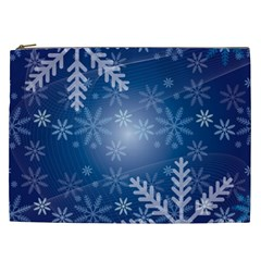 Snowflakes Background Blue Snowy Cosmetic Bag (xxl)