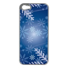Snowflakes Background Blue Snowy Apple Iphone 5 Case (silver)