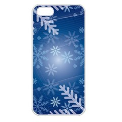 Snowflakes Background Blue Snowy Apple Iphone 5 Seamless Case (white)