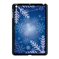 Snowflakes Background Blue Snowy Apple Ipad Mini Case (black)