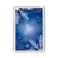 Snowflakes Background Blue Snowy Ipad Mini 2 Enamel Coated Cases