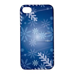 Snowflakes Background Blue Snowy Apple Iphone 4/4s Hardshell Case With Stand