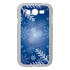 Snowflakes Background Blue Snowy Samsung Galaxy Grand Duos I9082 Case (white)