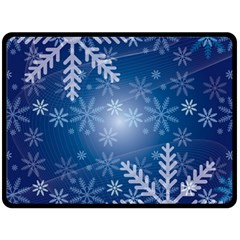 Snowflakes Background Blue Snowy Double Sided Fleece Blanket (large)