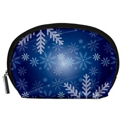 Snowflakes Background Blue Snowy Accessory Pouches (large)