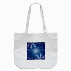 Snowflakes Background Blue Snowy Tote Bag (white)