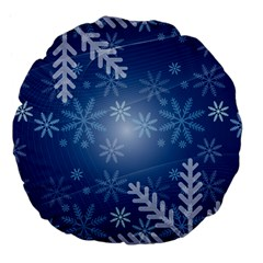 Snowflakes Background Blue Snowy Large 18  Premium Flano Round Cushions