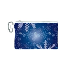 Snowflakes Background Blue Snowy Canvas Cosmetic Bag (s)