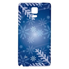 Snowflakes Background Blue Snowy Galaxy Note 4 Back Case