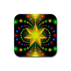 Christmas Star Fractal Symmetry Rubber Square Coaster (4 Pack)