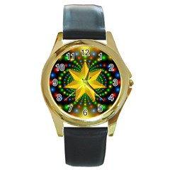 Christmas Star Fractal Symmetry Round Gold Metal Watch