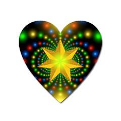 Christmas Star Fractal Symmetry Heart Magnet