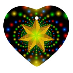 Christmas Star Fractal Symmetry Heart Ornament (two Sides)