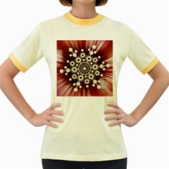 Background Star Red Abstract Women s Fitted Ringer T Shirts