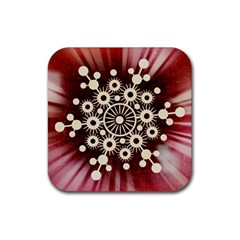 Background Star Red Abstract Rubber Square Coaster (4 Pack)
