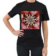 Background Star Red Abstract Women s T Shirt (black) (two Sided)