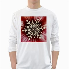 Background Star Red Abstract White Long Sleeve T Shirts