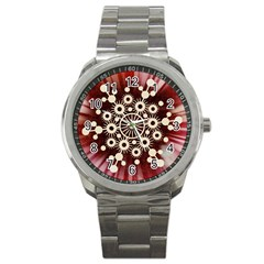 Background Star Red Abstract Sport Metal Watch