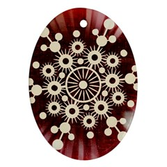 Background Star Red Abstract Oval Ornament (two Sides)