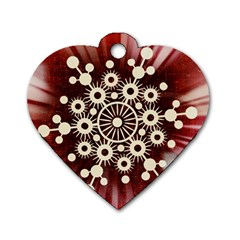 Background Star Red Abstract Dog Tag Heart (one Side)