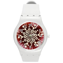 Background Star Red Abstract Round Plastic Sport Watch (m)