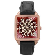 Background Star Red Abstract Rose Gold Leather Watch